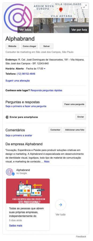 Google Meu Negócio Barra Lateral