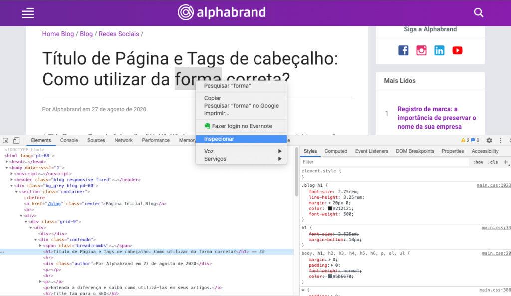 Utilizando o Inspecionar elemento para verificar as tags de cabeçalho do site.