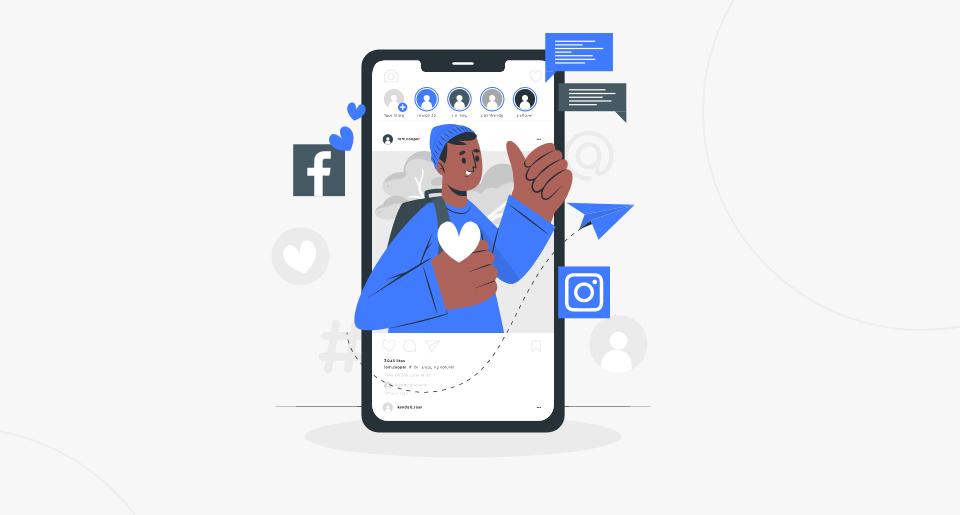 Ilustração de um personagem saindo do celular. Ao fundo, ícones de stories.