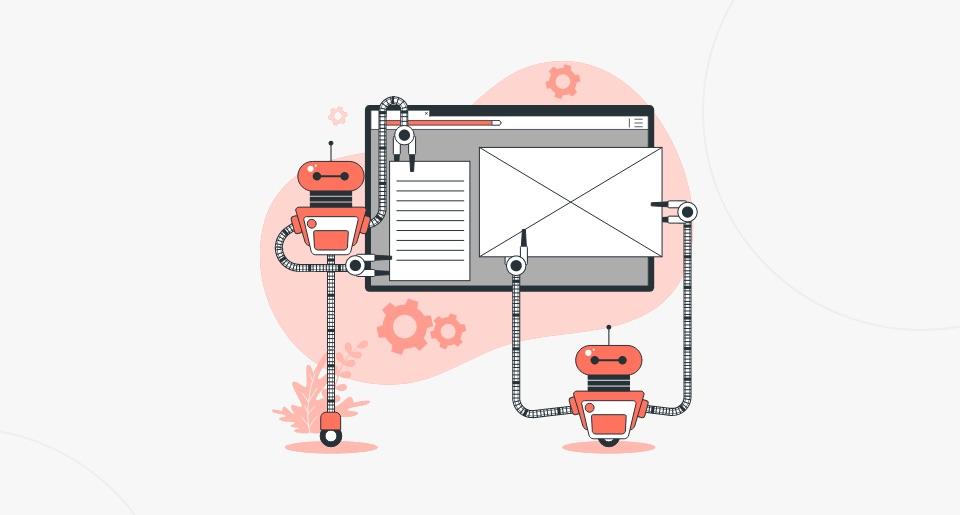 Robôs vermelhos montando uma página de site para ilustrar a otimização SEO ON PAGE