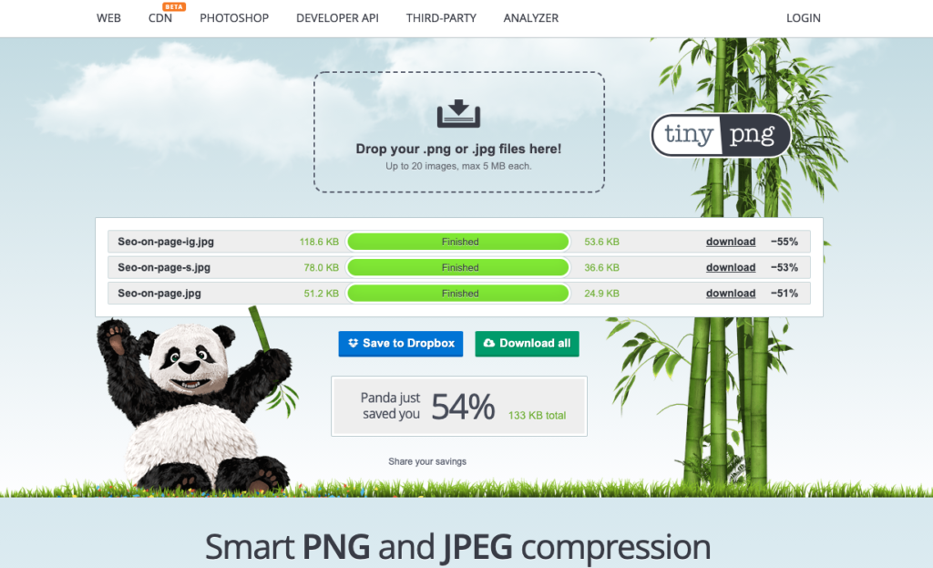 Captura de tela do site TinyPNG, mostrando a compactação dos arquivos.