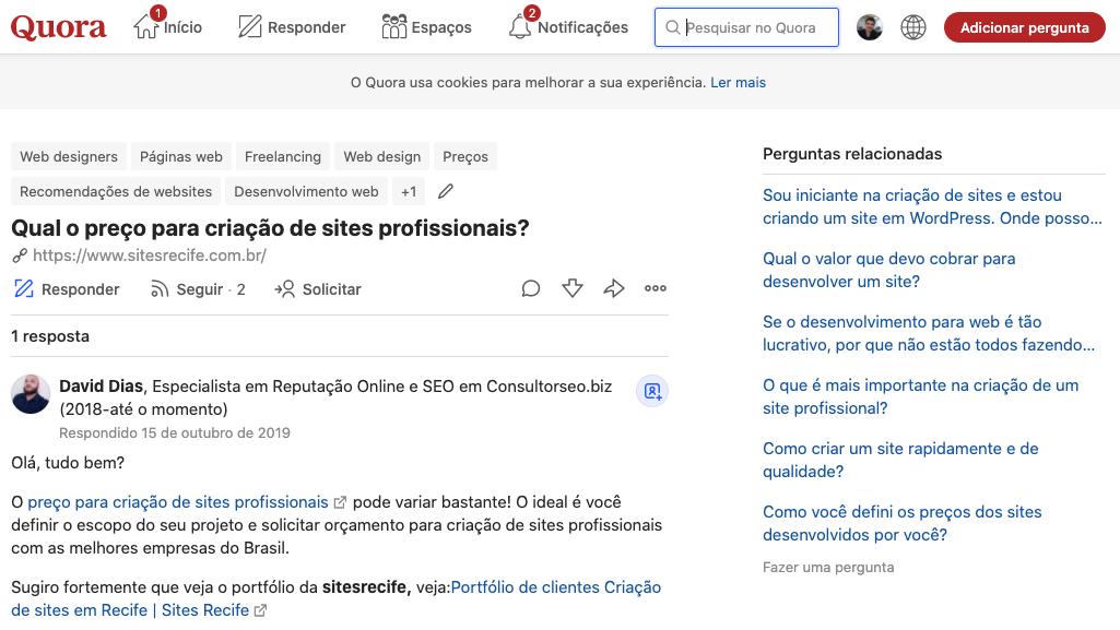 Exemplo de pesquisa no site Quora. Como as pessoas perguntam sobre seu serviço?