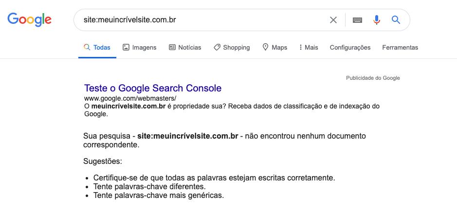 página de resultado de busca do Google mostrando uma busca vazia.