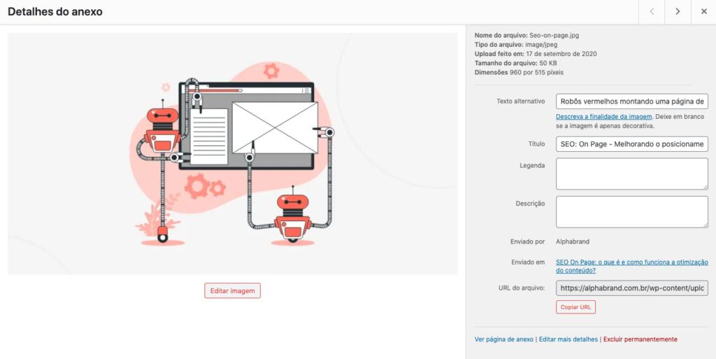 Imagem do painel de Mídia do WordPress mostrando as tags de texto alternativos e Title preenchidos
