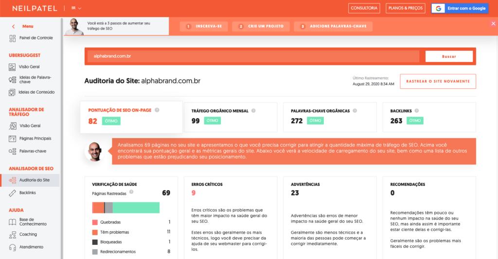 Painel do Ubersuggest mostrando a ferramenta SEO Analyzer